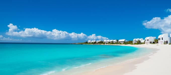 The spectacular coastline of Anguilla in the Caribbean.